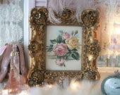 vintage paul de longpre framed print on canvas, gorgeous pale pink & yellow roses, ornate frame, gold tone, romantic shabby cottage chic
