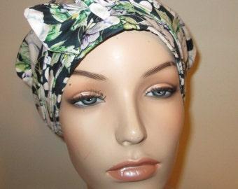 White Navy Green Purple  Dahlias Chemo Hat, Cancer Scarf, Surgical Scrub Hat, Turban, Hair Loss Free Ship USA
