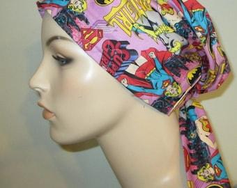 Girl Power - Batgirl, Supergirl, Wonderman  Chemo Scarf, Hat, Cancer Hat, Hijab, Alopecia Turban
