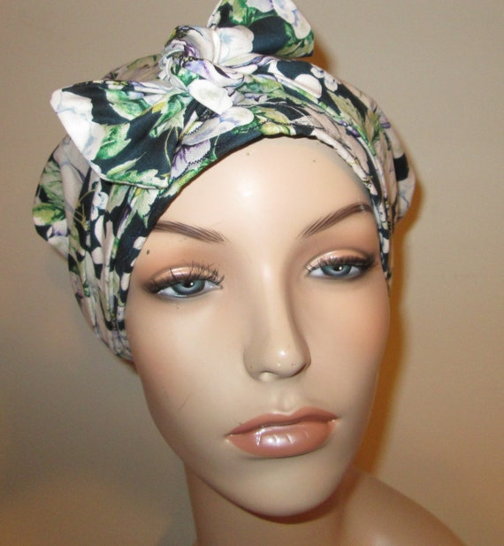 White Navy Green Purple  Dahlias Chemo Hat, Cancer Scarf, Surgical Scrub Hat, Turban, Hair Loss Free Ship USA