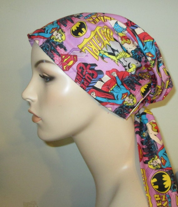 Girl Power - Batgirl, Supergirl, Wonderman  Chemo Scarf, Hat, Cancer Hat, Hijab, Alopecia Turban