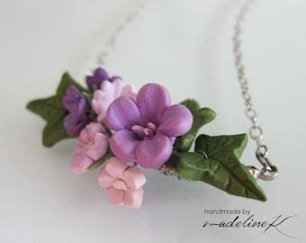 Summer Flower Necklace - Handmade Polymer Clay Flower Necklace - Flower Jewelry - Shabby Chic Flower Necklace - Summer Jewelry