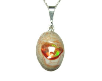 Mexican fire opal pendant with chain