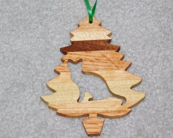 Wood Christmas Tree Cat Ornament -  Cat-3
