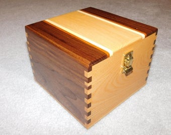 "Large Wood Recipe Box for 4"" x 6"" Index Cards - Walnut & Ash"