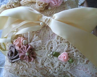 Wedding Ring Bearer Pillow, Shabby Blush Doily Lace All Handmade and Stitched Victorian Roses,Made from Vintage Bridal Gown, Ready to Ship