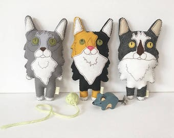Custom Felt Stuffed Cat, Gift for Cat Lover, Custom Cat Replica, Felt Cat, Felt Stuffed Cat, Custom Toy Cat, Toy Cat, Felt Cat Pet Memorial