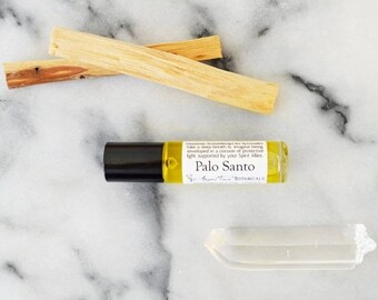SALE - Palo Santo Gemstone Aromatherapy for Spirituality with Clear Quartz, Spiritual Ritual Oil - Shamanic Holy Wood Cleanses Negative Ener