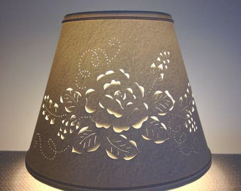 Floral lamp shade etsy cut and pierced rose design lampshade clip on lampshade lamp shade paper lampshade mozeypictures Choice Image