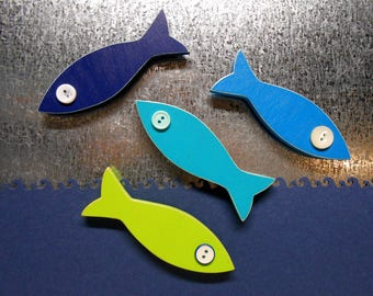 School of Fish Magnets Set of 4 Blues & Bright Green Home Decor