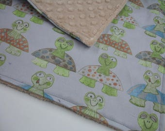 Long Neck Turtles Minky Burp Cloth 13 x 15  READY TO SHIP On Sale
