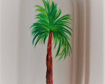 Palm Tree Butter Dish Hand Painted Palm Trees Covered Butter Dish Palm Tree Butter Dish With Lid