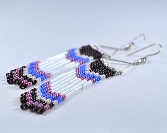 Fringe seed earrings | seed bead earrings | long fringe earrings | long earrings