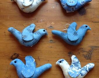 Six Blue Bird Ornaments