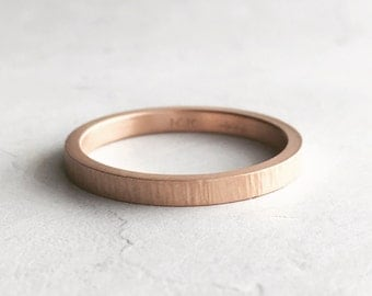 2mm Rose Gold Wedding Band | Tree Bark Texture| Rustic Texture 10k 14k 18k Gold | Women's Wedding Ring