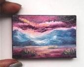 "Mini Oil Painting Night time Mountains 2""x 3"" READY to SHIP"