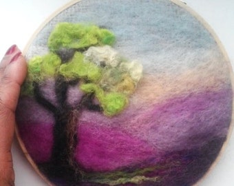 """Embroidery Hoop Art Landscape Lavender Fields with Tree Needle Felting 6"""" READY to SHIP"""