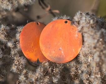 Vintage Matte Orange Marbled Plastic Pendants 30mm pnd116D
