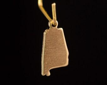 Raw Brass Tiny Alabama Blank State Charm Drops (6) chr228T