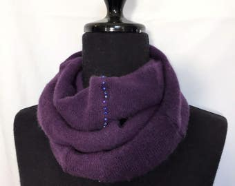 Infinity Cashmere Wool Scarf made from an upcycled purple sweater