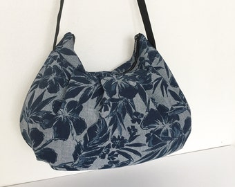 Pleated Bag // Shoulder Purse - Hibiscus Chambray in Navy