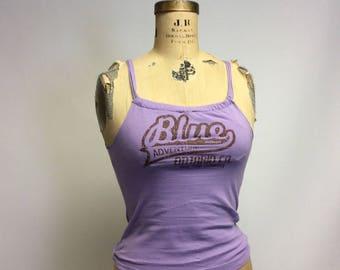 Raw Edged Re-cut T shirt tank Lavender Small