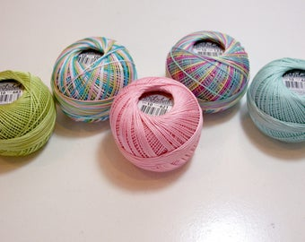 Tatting Thread, Lizbeth Cotton Crochet Thread, Wildflowers Collection, Pink, and Green Thread, Choose a size, 10, 20, 40