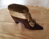 Vintage High Heel Wooden Shoe Pin Cushion