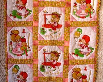 Pink Little Girl Crib Quilt Lap Coverlet Wall Hanging Throw Fishing Artist Balloons