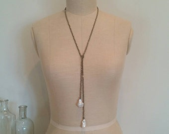 Pyrite Stone Lariat Necklace Baroque Pearl