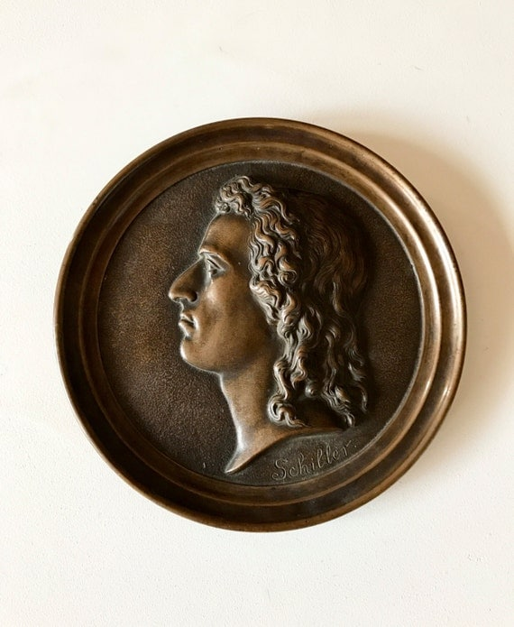1905 Antique Bronze Medallion of Friedrich Schiller 6""