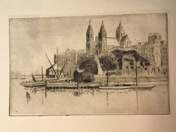 A. Graeme Mitchell (1889-1941) Etching of Cincinatti Harbor and Cathedral
