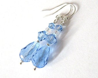Pastel Blue Crystal Drop Earrings, Sterling Silver and Light Sapphire Swarovski Crystal
