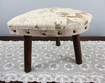 """Vintage Heart Shaped Foot Stool - Newly Recovered - 9-1/2"""" High - Neutral Fabric - Three Legged"""