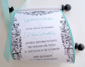 Quinceanera Invitations, 15th birthday party invitations, teen birthday party, aqua and black invitations, scroll invitations, set of 10