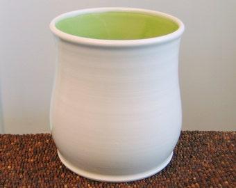 Utensil Crock - Ceramic Utensil Holder in Lime Green - Stoneware Pottery Utensil Caddy, Kitchen Organizer