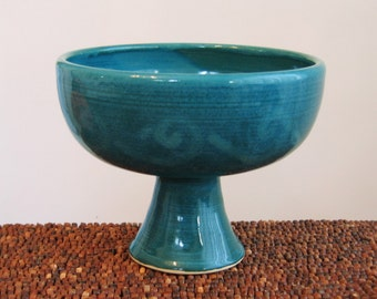 Wine Goblet, Ceremonial Pottery Chalice, Wine Glass 12 oz. Stoneware Ceramic Handmade Cup in Peacock Blue / Green, Wheel Thrown Wedding Gift