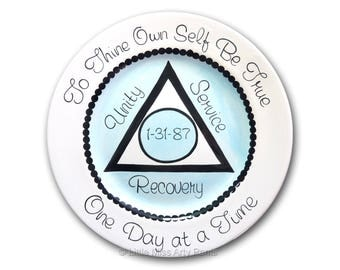 AA Alcoholics Anonymous Personalized  AA Birthday/Recovery Plate - Unity, Service, Recovery - 11 inch plate