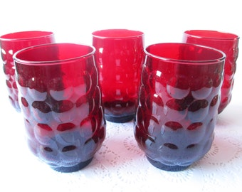 Vintage Red Bubble Tumblers Anchor Hocking Set of Five - Retro 50s Style