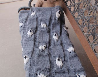 Baby blanket with sheep/sheep blanket/gray baby blanket/hand knitted baby blanket/sheep/unisex baby blanket/new baby/lap robe/baby shower
