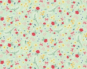 "ON SALE Penny Rose Fabrics ""Bunnies and Cream"" Mint Roses"