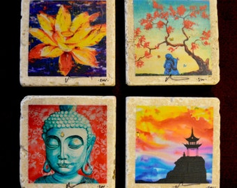 Fine Art Coasters, set of 4, zen, drink coaster, travertine, stone, buddha, asian, distressed, gift, present