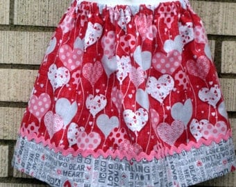 Heart Balloons girls skirts, 6M to size 8