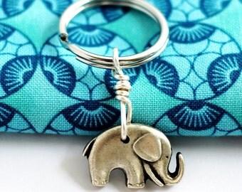 Cute Elephant Keychain, Repurposed Button Elephant Key Ring, Animal Keychain by Hendywood