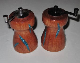Handmade Wooden Salt and Pepper Grinders~Handmade Salt and Pepper Mills~Turquoise Inlay