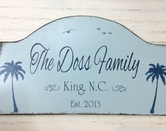 Family getaway sign, personalized beach house sign, tropical custom sign, palm trees decor, custom sign, retirement, snowbird sign,