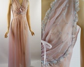 Vintage 50s - 60s Pink and Blue Sheer Chiffon Nightgown B36 W27