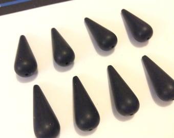 8 Matte Black Tear Drop Bead