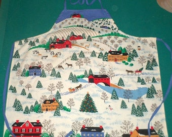 Spring Sale Winter Apron - Snowy Village Apron - Horses and Sleighs - Salt Box Houses - Country Village - Covered Bridge - Cotton Weave Apro