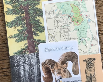 Let's Travel to Kings Canyon and Sequoia National Park Vintage California Collage, Planner and Scrapbook Kit Number 2374